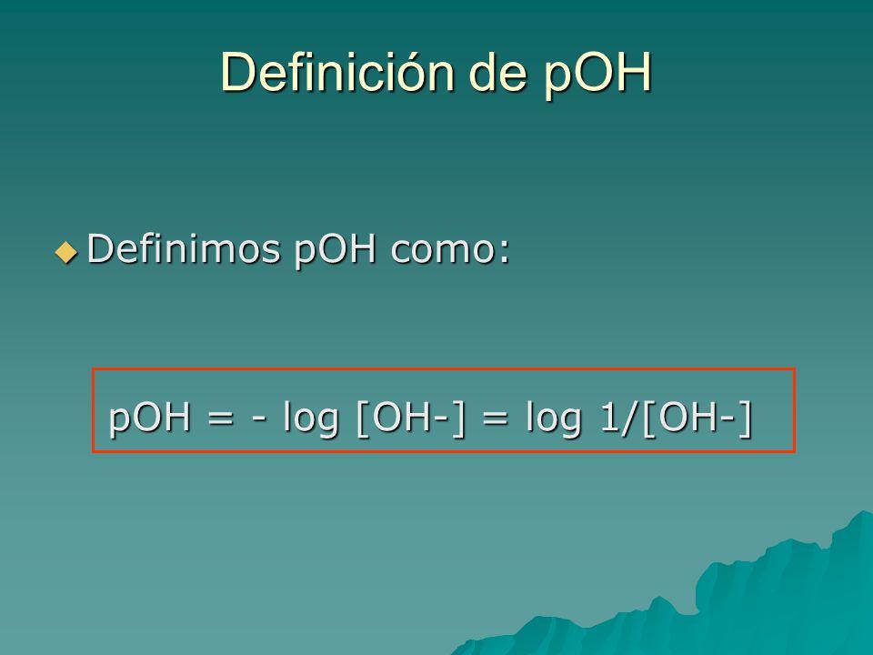 Definición de pOH Definimos pOH como: pOH = - log [OH-] = log 1/[OH-]